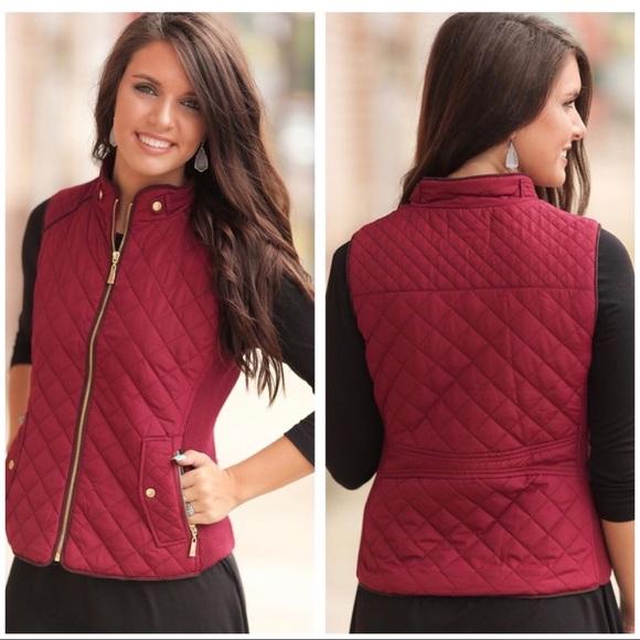 Boutique Jackets Blazers Burgundy Quilted Vest Poshmark